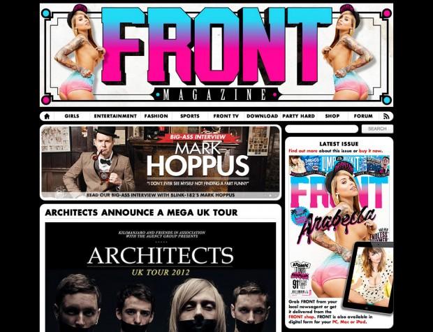 Screenshot of the FRONT magazine website.