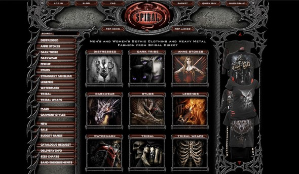 Screenshot of the Spiral Direct website.