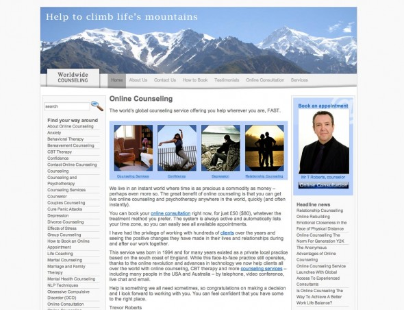 Screenshot of an website created for a hypnotherapist and counselor
