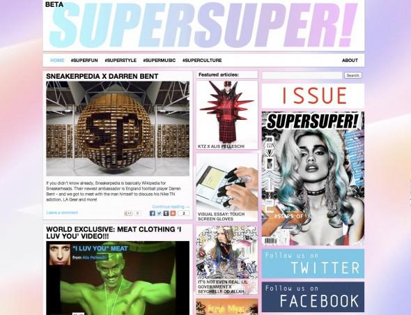 Screenshot of the SUPERSUPER website